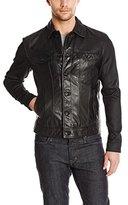 John Varvatos Men's Denim Style Leather Jacket