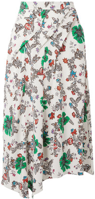 Isabel Marant Cacia Floral-print Stretch-silk Crepe De Chine Midi Skirt