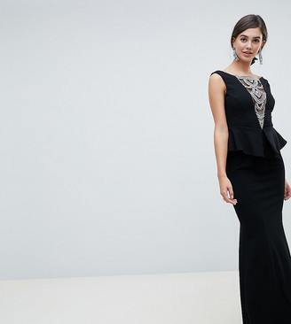 City Goddess Tall structured peplum maxi dress with embellished detail-Black