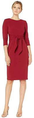 Adrianna Papell Knit Crepe Tie Waist Sheath Dress (Blush) Women's Dress