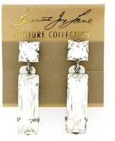 Kenneth Jay Lane Silver & Crystal Rectangular Drop Clip On Earrings