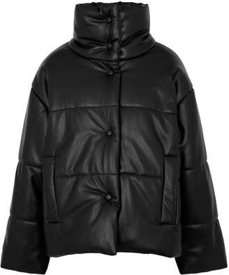 Nanushka Black quilted faux leather jacket