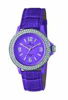 Swarovski Laurens Women's GW70J904Y Crystal Bezel Purple Dial Leather Watch