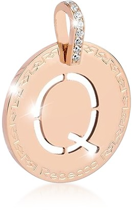 Rebecca Rose Gold-plated Bronze & Zirconia Q Charm W/Rhodium-plated Necklace