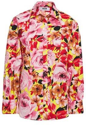MSGM Floral-print Cotton-poplin Shirt