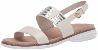 Cole Haan womens ORIGINALGRAND HUARACHE SANDAL PECAN LEATHER/ROSE GOLD METALLIC/OPTIC WHITE 7 medium US