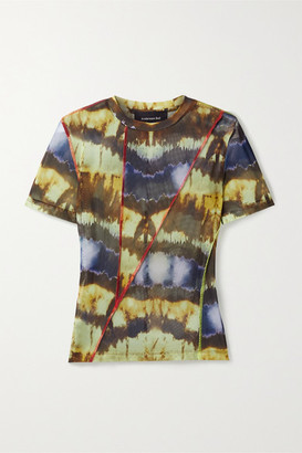 ANDERSSON BELL Paneled Tie-dyed Stretch-mesh T-shirt - Blue