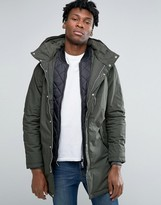 Pull&bear Parka Jacket In Khaki