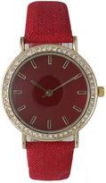 OLIVIA PRATT Olivia Pratt Womens Gold-Tone Rhinestone Accent Red Denim Faux Leather Strap Watch 14087