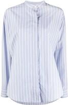 Isabel Marant Satchell striped band-collar shirt