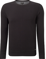 Diesel S-willard Felper Stripe Crew Neck Jumper, Black