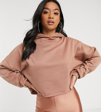 Asos DESIGN Petite two-piece oversized cropped hoodie in blush-Beige