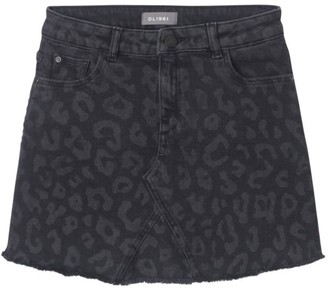 DL1961 Girl's Jenny Leopard Denim Skirt
