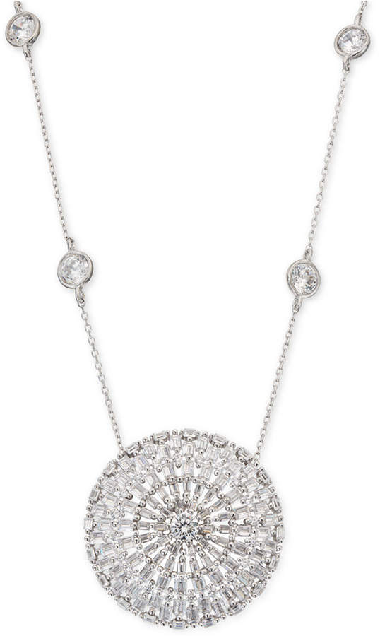 """Giani Bernini Cubic Zirconia Baguette Disc 18"""" Pendant Necklace in Sterling Silver, Created for Macy's"""