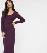 Asos Tall DESIGN Tall long sleeve square neck rib midi dress in plum