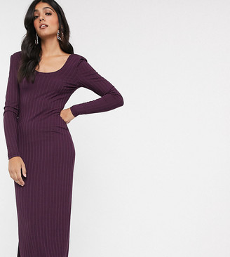 Asos Tall ASOS DESIGN Tall long sleeve square neck rib midi dress in plum