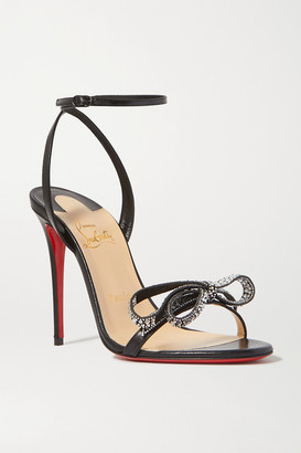 Christian Louboutin Jewel Queen 100 Crystal-embellished Bow-detailed Glossed-leather Sandals - Black