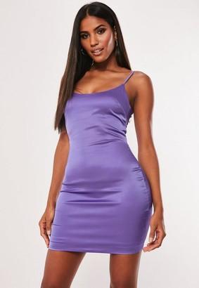 Missguided Purple Stretch Satin Bodycon Mini Dress