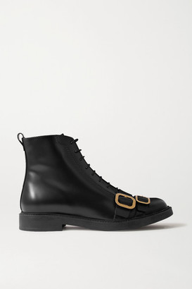 Tod's Buckled Leather Ankle Boots - Black