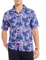 Daniel Cremieux Hibiscus Print Slub Short-Sleeve Woven Shirt