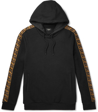 Fendi Logo-Appliqued Fleece-Back Cotton, Cashmere And Wool-Blend Jersey Hoodie