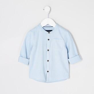 River Island Mini boys Blue herringbone grandad shirt