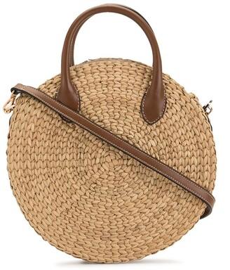 Poolside woven beach tote bag
