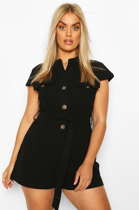 boohoo Plus Button Through Utility Playsuit