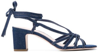 Loeffler Randall Libby Knotted Wrap Denim sandals