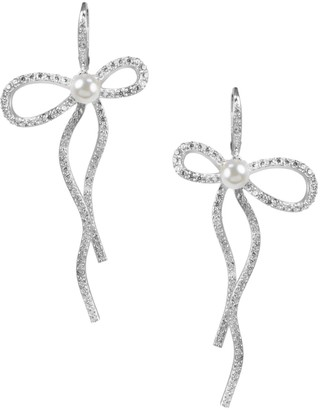 Cz By Kenneth Jay Lane Rhodium-Plated Mother-Of-Pearl Elongated Pave Bow Earrings