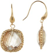 Rivka Friedman 18K Gold Clad Twisted Bezel Set Faceted Gold Rutilated Crystal Dangle Earrings
