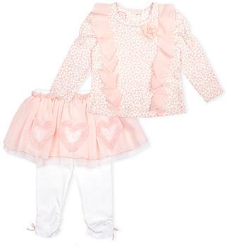 Biscotti Girls' Leggings GOLD - Pink Leopard Ruffle Rose Long-Sleeve Top & White Heart Tutu Leggings - Newborn & Infant