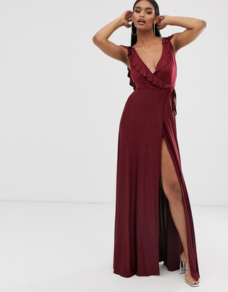 Asos Design DESIGN ruffle wrap maxi dress with tie detail-Red