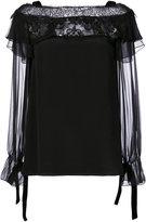 Alberta Ferretti sheer ruffle top - women - Silk/Cotton/Polyamide - 42