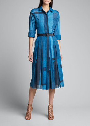Akris Cotton 1/2-Sleeve Shirtdress
