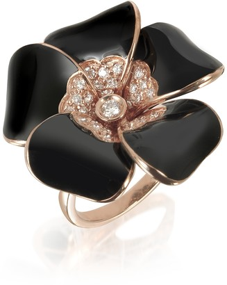 Rosato White Diamond, Black Enamel and Rose Gold Iris Ring