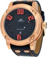 Adee Kaye #AK7281-MRG Men's 3-D Layer Black Dial Analog Leather Band Watch