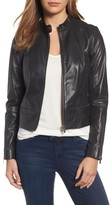 Petite Women's Halogen Zip Detail Leather Moto Jacket