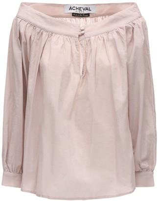 ÀCHEVAL PAMPA Desnuda Gathered Cotton Voile Shirt