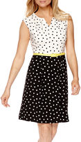 Studio 1 Sleeveless Dot Print Fit-and-Flare Dress