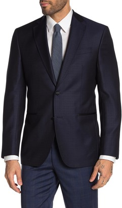 Ted Baker Jack Navy Printed Two Button Notch Lapel Wool Suit Separate Blazer