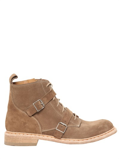 Balmain 30mm Double Belted Suede Low Boots
