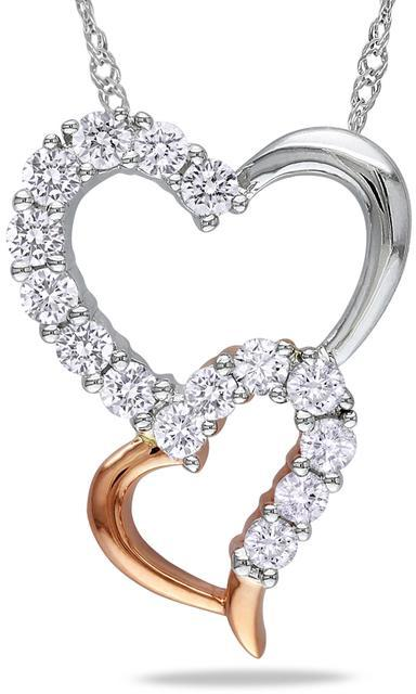 Julie Leah 1/2 CT Diamond Double Heart Pemdant Necklace in 14K White and Rose Gold