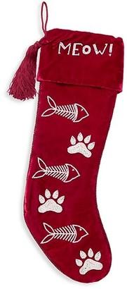 Sudha Pennathur Meow Embellished Velvet Stocking