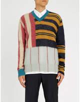 Marni Striped patchwork wool-blend jumper