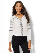 New York & Co. Embroidered Peasant Blouse