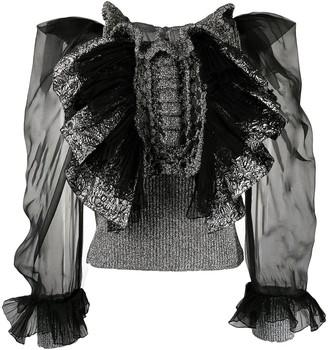 Alberta Ferretti Ruffled Sheer-Sleeve Blouse