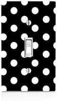 White Polka Dot Polka Dots Black Background Light Switch Plate