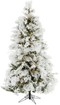 Christmas Time 6.5'. Frosted Fir Snowy Artificial Christmas Tree with Clear Smart String Lighting
