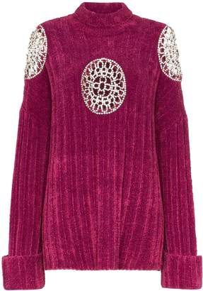 Area embellished cut-out turtle neck sweater